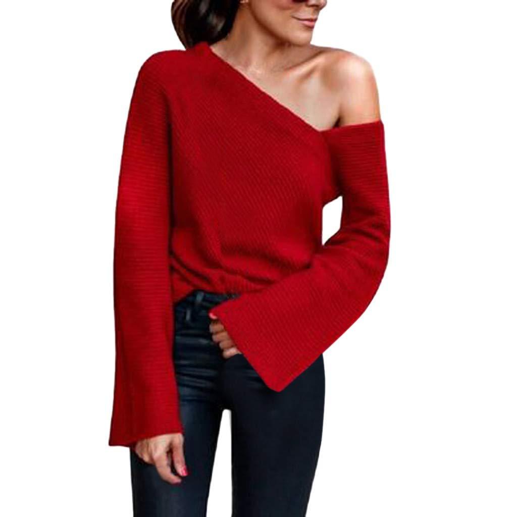 Robemon T Shirt Femme Irrégulière Une épaule Tricot Manchon Évasé Lady Blouse Tunique Tops