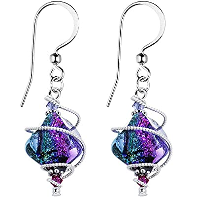 Body Candy Handcrafted 925 Silver Purple Dichroic Dangle Earrings Created with Swarovski Crystals