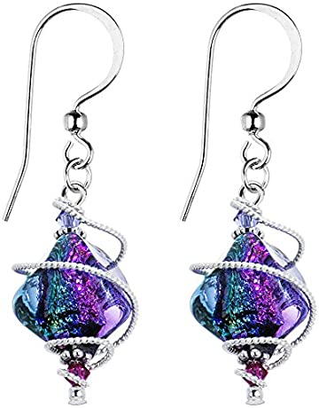 dc3109067 Body Candy Handcrafted 925 Silver Purple Dichroic Drop Dangle Earrings  Created with Swarovski Crystals