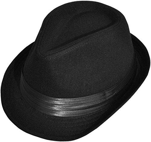 Black Classic Leather Hat (Halconia Men's Classic Striped Manhattan Trilby Short Brim Fedora Hat, Black)