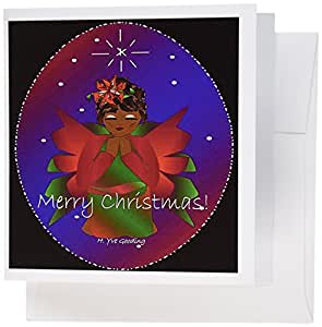 3dRose African-American Christmas Angel Baby Girl Praying With Merry Christmas Text - Greeting Cards, 6 x 6 inches, set of 6 (gc_6946_1)