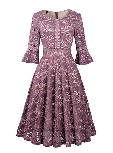Twinklady Women's Vintage Full Lace Bell Sleeve Big Swing A-Line Dress (Pink Purple, M