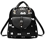 Women's Summer Cute PU Leather Student Bag Backpack Shoulder Bag(eyes)