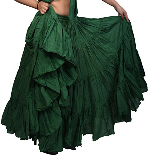Wevez Women's Gypsy 25 Yard Solid Color Cotton Skirt, One Size, Green -