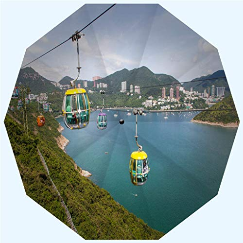 Fashion Travel Umbrella Sun Umbrella UV protection automatic opening and closing, Cable car in Ocean Park in Hong Kong, windproof - rainproof - men - ladies - versatile - 42 inches