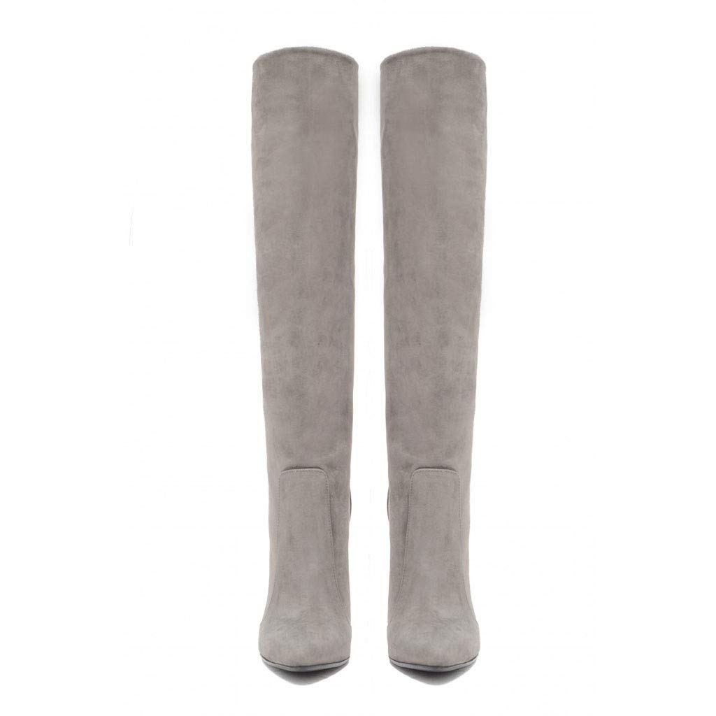Women's High Heel Knee Boots Large Size Pointed PU Straight Pointed Size High Boots Waterproof Platform Adult Boots Comfortable Party Work Fashion Boots,Gray,36 B07H6YLBTD Boots 9243e9