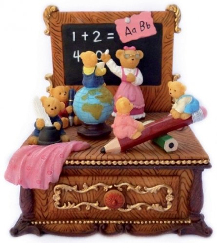 """MusicBox Kingdom 14269 Bear School in Math Lesson Music Box, Moves to The Melody """"Happy Days are Here Again"""""""