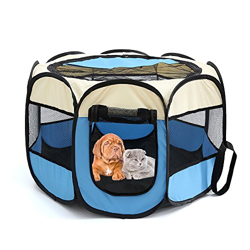 "Petoice 2-Door Foldable Portable Waterproof Pet Playpen Kennel Exercise Pens for Dogs Cats Rabbits Outdoor Indoor,Blue,M(35.4"" L x 35.4"" W x 23.6"" H)"