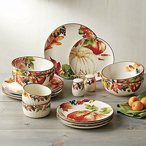 Better Homes and Gardens Fall Botanical Leaves Design 16-Piece Ironstone Dinnerware Set, Multicolor