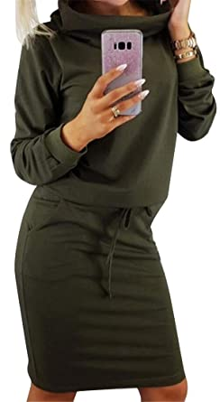 226e3c6c4d127 OTW Womens Defined Waist Pure Color Pile Collar Turtleneck Casual Bodycon  Cocktail Party Midi Dress Green