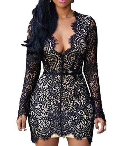 Buy black lace dress back cut out - 3
