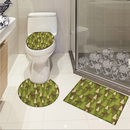 (jwchijimwyc Deer 3 Piece Toilet lid cover mat set Animals in the Forrest Mooses and Pine Trees Pattern Canada Foliage Mammal Design Printed Green Tan Brown)