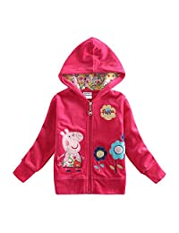 Peppa Pig Little Girls Long Sleeve Cartoon Pullover Hooded Cotton Jacket 1-6Y