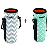 Orchidtent Protable Neoprene Insulated Water Drink Bottle Cooler Carrier Cover Sleeve Tote Bag Pouch Holder Strap for Kid Children Women MEN Biker Travel Cycling Climbing Sports (HOT BLUE AND GREY)