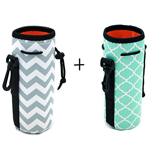Water Bottle Koozies - Orchidtent Protable Neoprene Insulated Water Drink Bottle Cooler Carrier Cover Sleeve Tote Bag Pouch Holder Strap for Kid Children Women MEN Biker Travel Cycling Climbing Sports (HOT BLUE AND GREY)