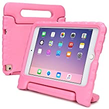 iPad Mini 4 kids case, COOPER DYNAMO Rugged Heavy Duty Children's Boys Girls Tough Rubber Drop Proof Protective Carry Case Cover + Handle, Stand & Screen Protector for Apple iPad Mini 4 Pink