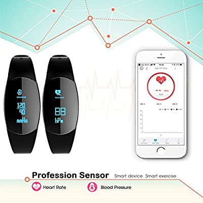 Fitness Tracker, Marsno Mo1 Activity Tracker Fitness Watch : Smart Band with Sleep Monitor Heart Rate Monitor Blood Pressure Monitor, Smart Bracelet Pedometer Wristband for iOS & Android