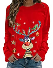Kewya Vrouwen Kerst T-Shirts Lange Mouw O Hals Eland Print Tops CasualHerfst Winter Truien Rood (Zwart/Groen/Rood/Bruin, S-2X-L), Rood, XL