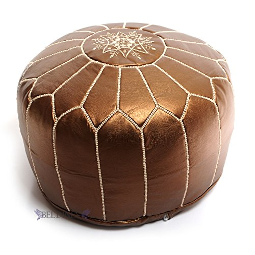 Stuffed Ottoman Moroccan Bronze Ski Leather Poufs, Pouffe, Ski Leather Ottoman, Hassock, Tuffet, Foot Stool, Foot Rest, Handmade (Bronze Ski)