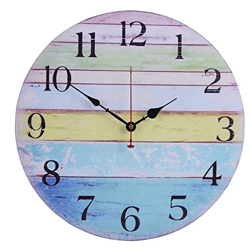 Old Oak 16-Inch Large Beach Wall Clock Decorative Silent Non-Ticking Nautical Theme for Bathroom Living Room Kitchen Bedroom Decor with Colorful Blue Green Yellow Stripe - Ocean Beach Stripe