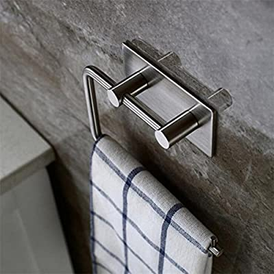 Home-organizer Tech Self Adhesive Stainless Steel Toilet Paper Holder Storage Bathroom Kitchen Paper Towel Dispenser Stick On Sticky Tissue Roll Hanger Wall Mount Contemporary Style