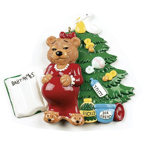 Personalized Expecting Christmas Tree Ornament 2019 - Pregnant Bear Mom Potential List Mother Book Shower Be Baby Bump Nursery Boy Girl Gender Neutral Pickle Ice Cream Daughter - Free Customization