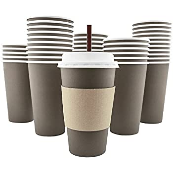 100 Pack - 16 Oz [8, 12, 20] Disposable Hot Paper Coffee Cups, Lids, Sleeves, Stirring Straws To Go
