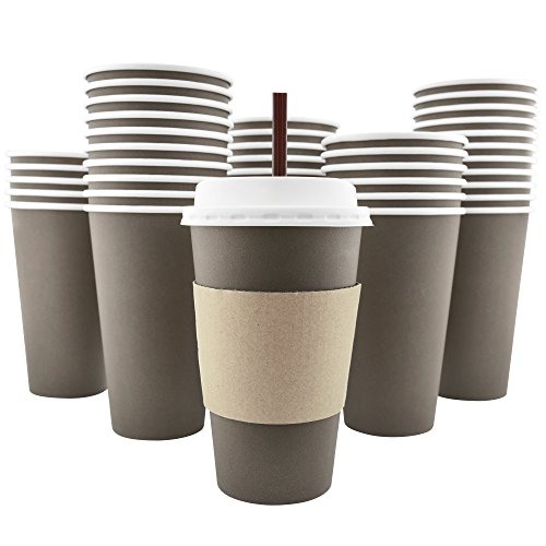 Sipping Cocoa - 100 Pack - 16 Oz [8, 12, 20] Disposable Hot Paper Coffee Cups, Lids, Sleeves, Stirring Straws To Go