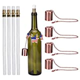 LinkBro Wine Bottle Tiki Torch Kit 4 Pack, Includes 4 Long Life Tiki Torch Wicks, Red antique Copper lamp cover And Brass Wick Mount - Just Add Bottle for an Outdoor Wine Bottle Light