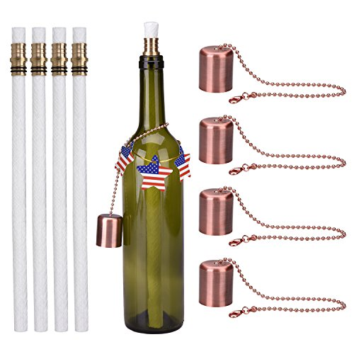 LinkBro Wine Bottle Tiki Torch Kit 4 Pack, Includes 4 Long Life Tiki Torch Wicks, Red antique Copper lamp cover And Brass Wick Mount - Just Add Bottle for an (Copper Cover)