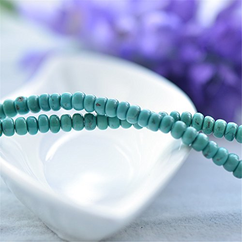 10pcs Grade AAA Natural Green Turquoise Beads NOT Dyed Abacus Shape 3x4.5mm TQ27