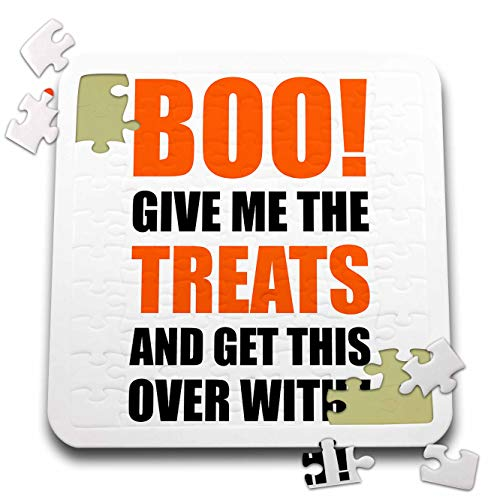 3dRose Carsten Reisinger - Illustrations - Halloween - Boo Give me The Treats and This Over with Funny Quote - 10x10 Inch Puzzle (pzl_294712_2) -