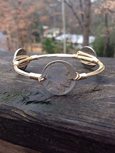 Buffalo Nickel Indian Bourbons and Boweties style wire wrapped bangle bracelet](Wire Wrapped Bangle Bracelets)