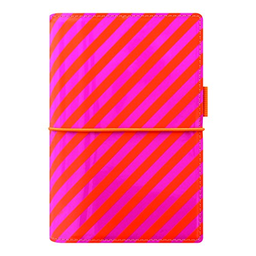 Pen Pink Filofax (Filofax 2018 Domino Organizer, Personal (6.75 x 3.75), Patent Orange/Pink Stripes, Planner with to do and Contacts Refills, Indexes and Notepaper (C022575-18))