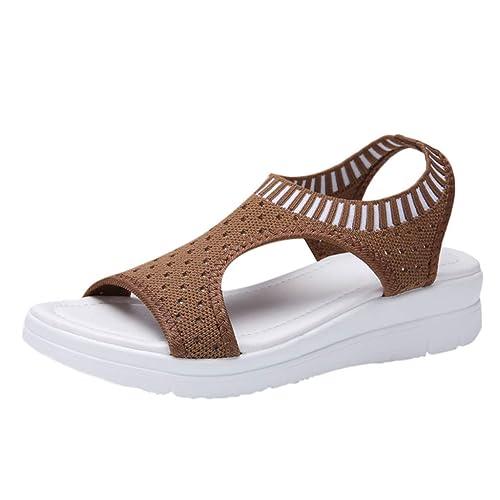 B commerce Frauen Baumwollgewebe Mesh Sandalen Damen Atmungsaktiv Komfort Aushöhlen Lässige Wedges Tuch Schuhe Freizeit Peep Toe Sandalen …