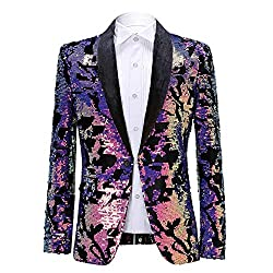 Men Purple Velvet Sequins Blazer
