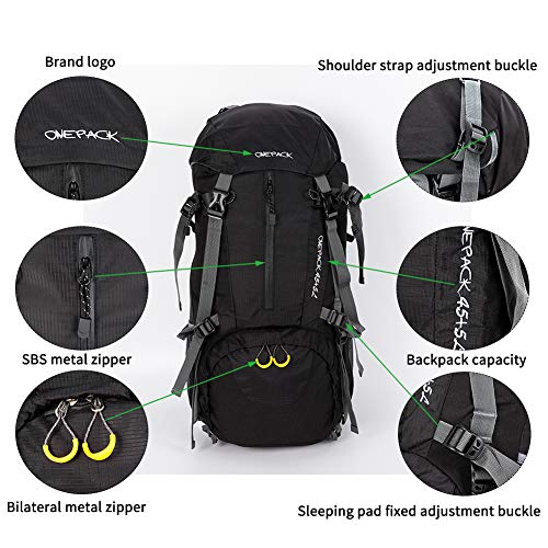 59b6e0163d96 ONEPACK 50L(45+5) Hiking Backpack Waterproof Backpacking Bag Outdoor Sport  Daypack for