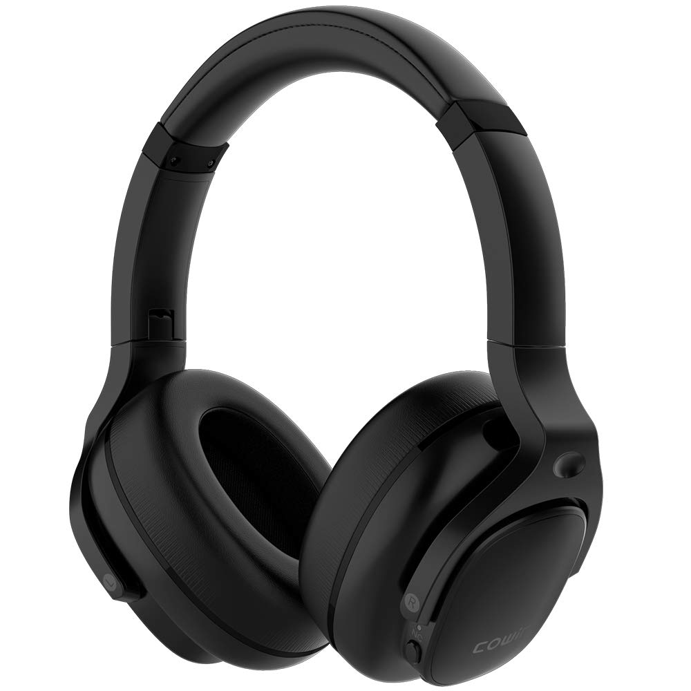 COWIN E9 Active Noise Cancelling Headphones Bluetooth Headphones Wireless Headphones Over Ear with Microphone Aptx, Comfortable Protein Earpads, 30 Hours Playtime for Travel Work, Black
