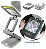 Portable LED Foldable Travel Desk Lamp and Magnifier Glass (Pocket Sized) to fit in a pocket, purse, backpack and more.