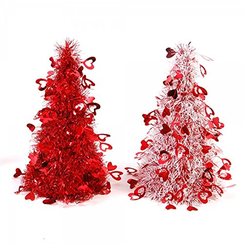 Valentines Day White and Red Tinsel Tree Party Decorations with Hearts, 10 Inch, Set of 2 (Valentine Table Decorations)