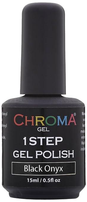 Amazon.com : Chroma Gel 1 Step UV & LED Gel Nail Polish BLACK ONYX ...
