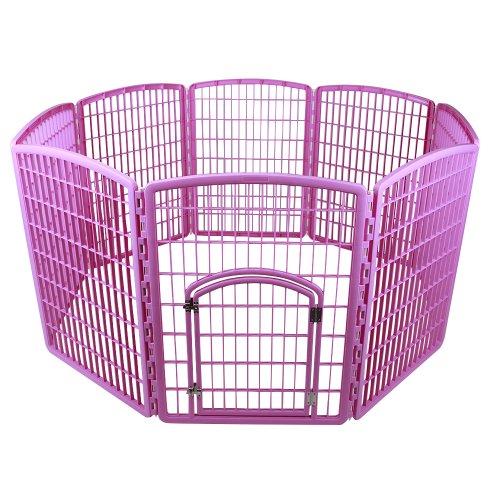 (IRIS Exercise 8 Panel Pen Panel Pet Playpen with Door - 34 Inch, Pink)