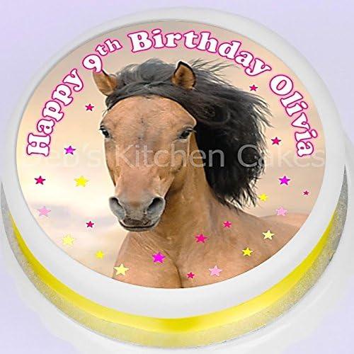Awesome Horse Cake Topper Pony Personalised Message 7 5 19Cm Round Personalised Birthday Cards Xaembasilily Jamesorg
