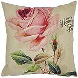 Pocciol Pillow Case, Colorful Smile Flower Cotton & Linen Cushion Cover Pillow Case (Rose)