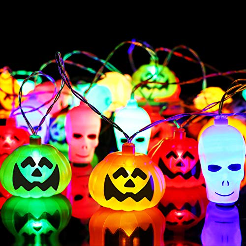 (CPPSLEE Pumpkin String Light - 32 LED 22 Feet Battery Powered - 3D Jack o Lantern - Halloween Pumpkin & Spooky String Lights Halloween Decorations)