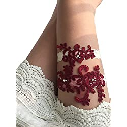 YuRong Wedding Garter Set Beaded Lace Garter Set Bridal Lace Garter Wedding Gift G01 (Burgundy)