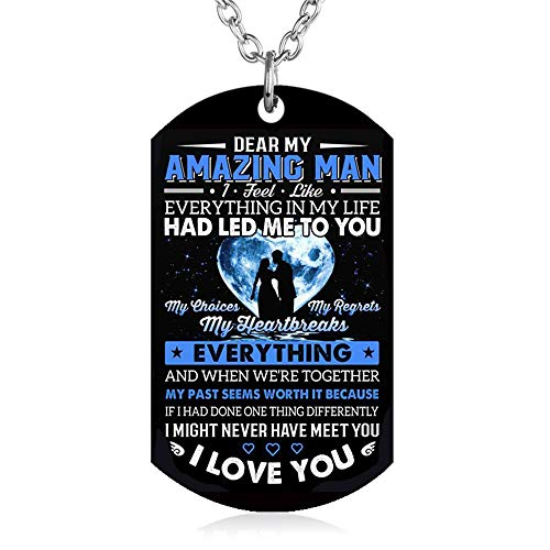 FAYERXL Gift to My Husband Boyfriend Fiance Man from Wife Girlfriend Dog Tag Necklace Love Jewelry (to My Amazing Man) (Best Christmas Gift For My Boyfriend)