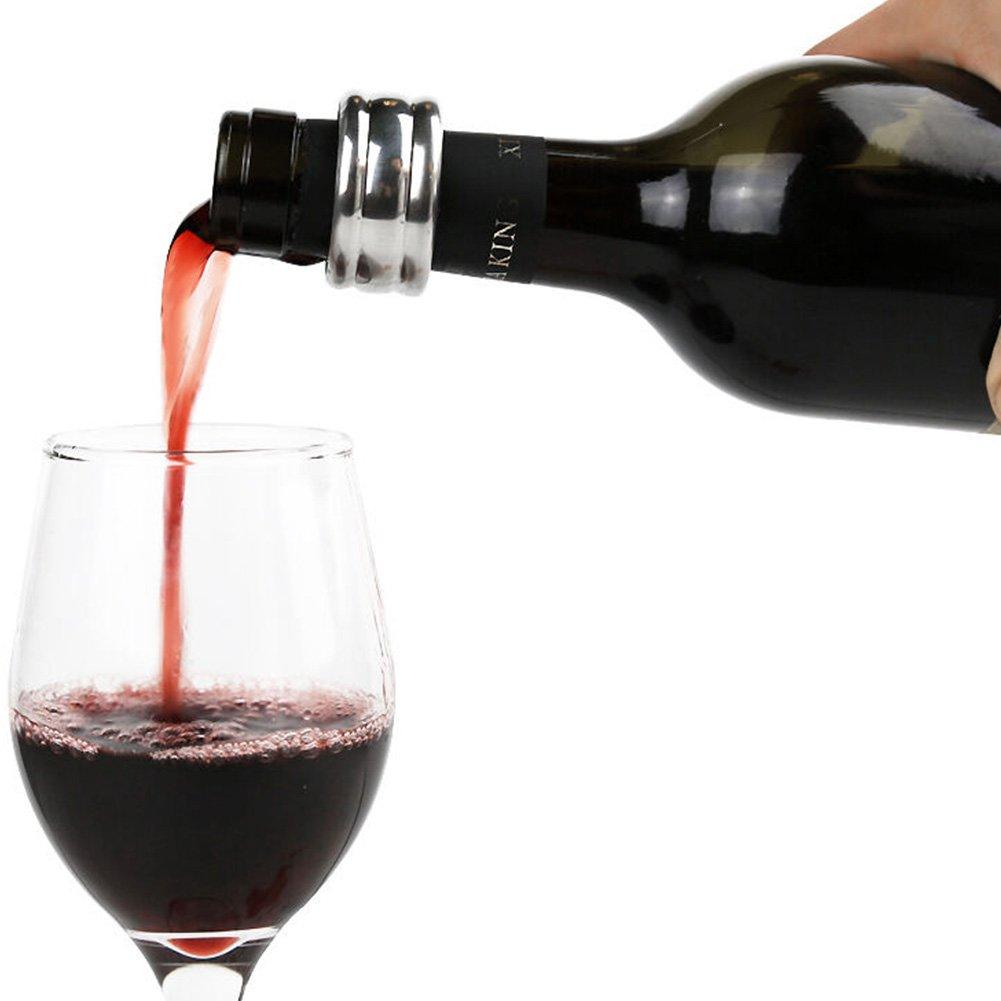 Vino collar-jltph Acero Inoxidable Rojo Botella de vino cuello Alcohol Ring Stop ba/ñado en plata negro