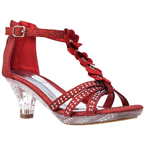 (Generation Y Kids Heel Sandals T-Strap Flower Glitter Rhinestone Clear Low Heels Red SZ 3)