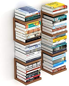 Bluewud Alvin Wall Mount Book Shelf Rack/Display Case (Set of 4) Wall Shelves at amazon